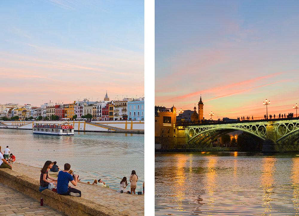 les quais au coucher du soleil à Séville
